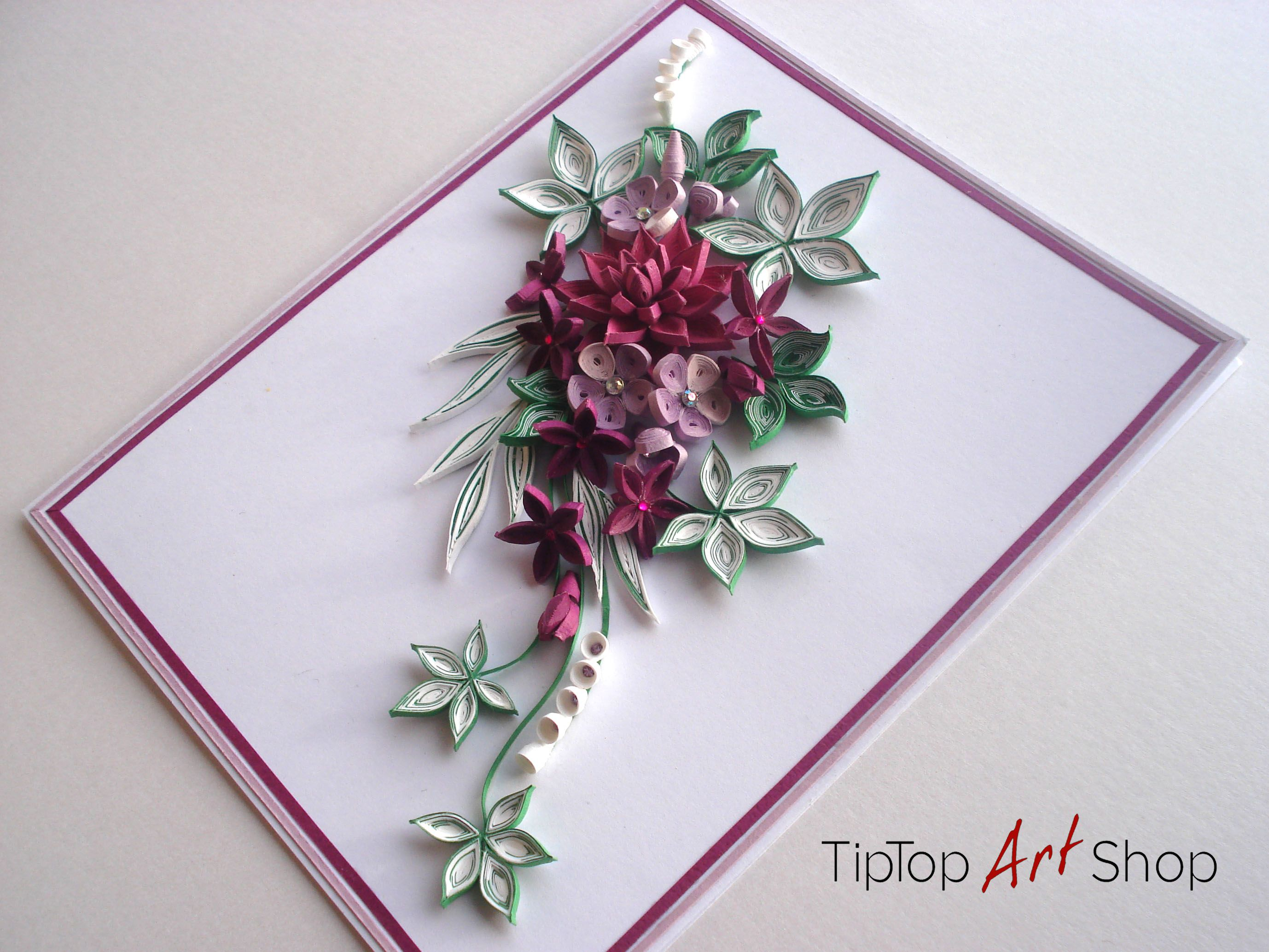 quilled handmade greeting card with 3d paper flowers for birthdays
