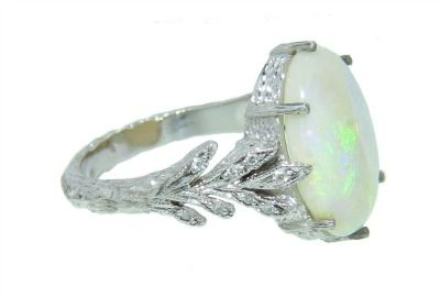 October Birthstone Engagement Ring Cathy Waterman Oval Opal Leafside From Ylang23 7 110