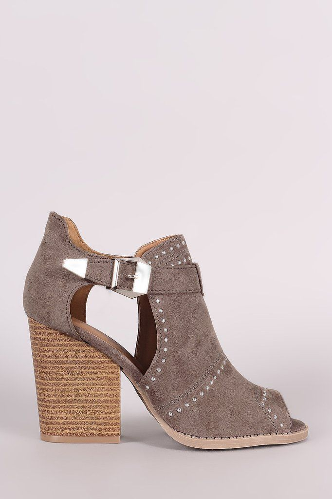 384a5c5f28bb Qupid Suede Studded Peep Toe Stacked Chunky Heeled Booties – Style Lavish