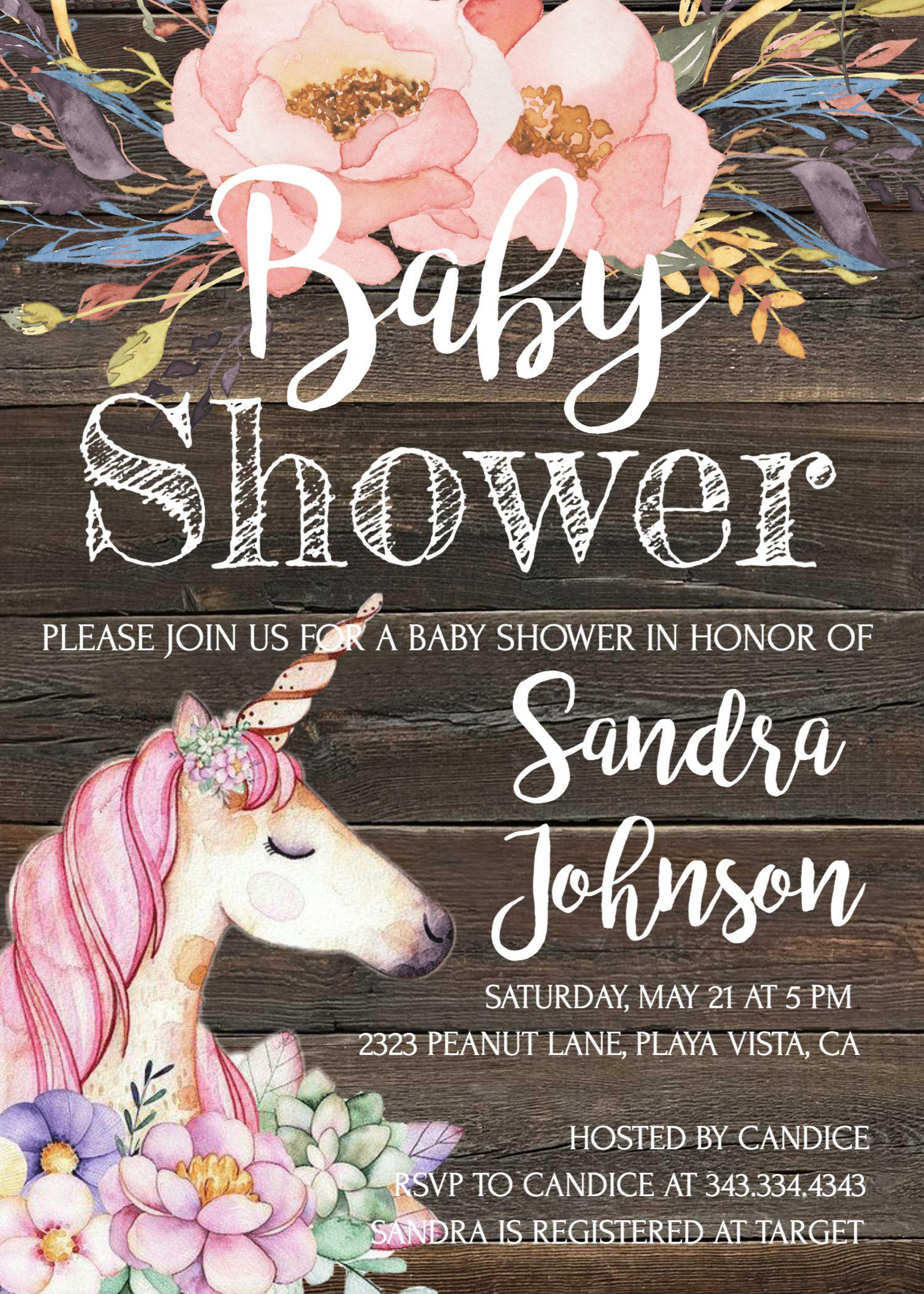 Unicorn Baby Shower Invitation Girl Baby Shower Baby Shower