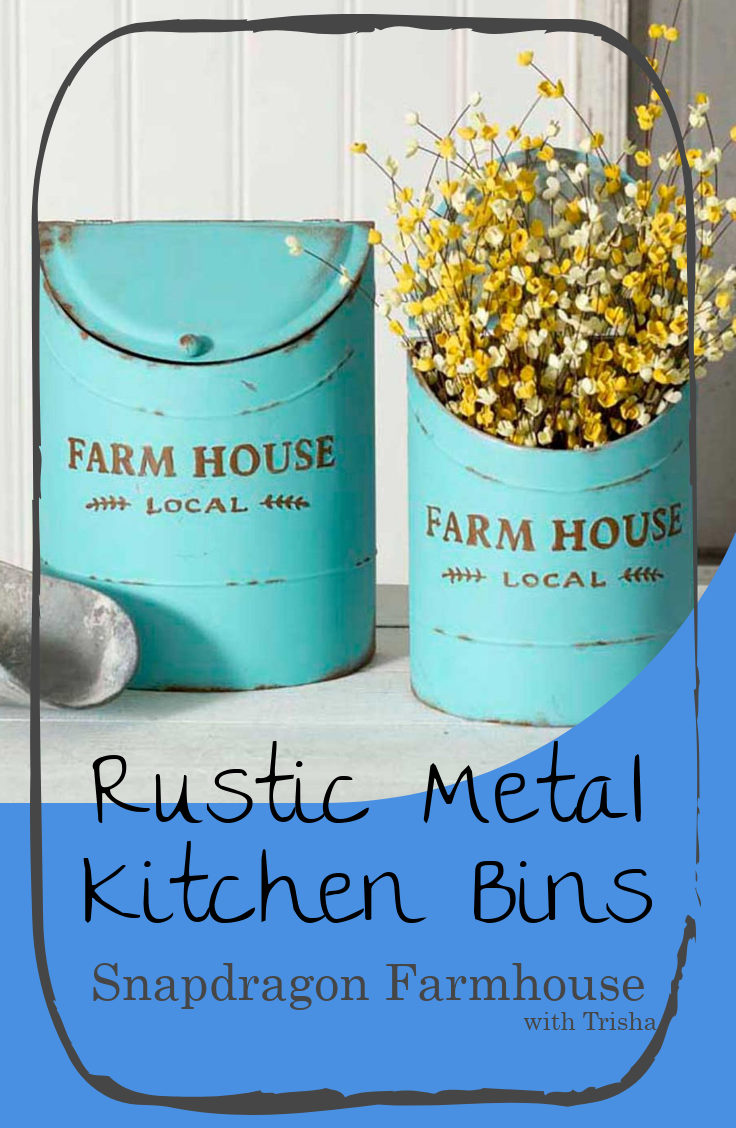 Rustic Metal Kitchen Bins. Modern Farmhouse Decor from Snapdragon ...