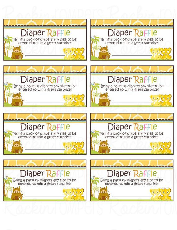 Lion King Inspired Diaper Raffle ticket Neutral DIY Digital