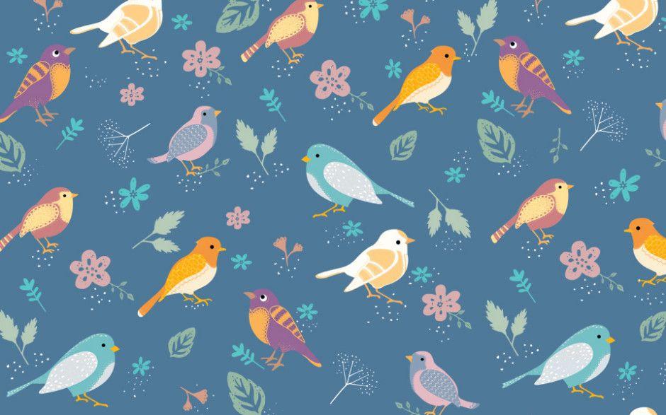 Pattern com temática de pássaros.
