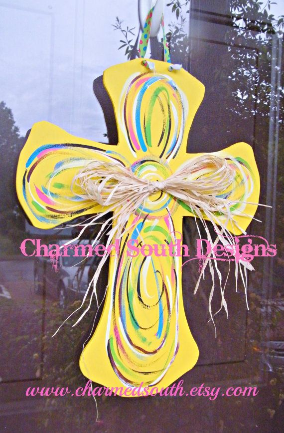Yellow and Swirl Wood Cross Door Hanger by CharmedSouth on Etsy ...