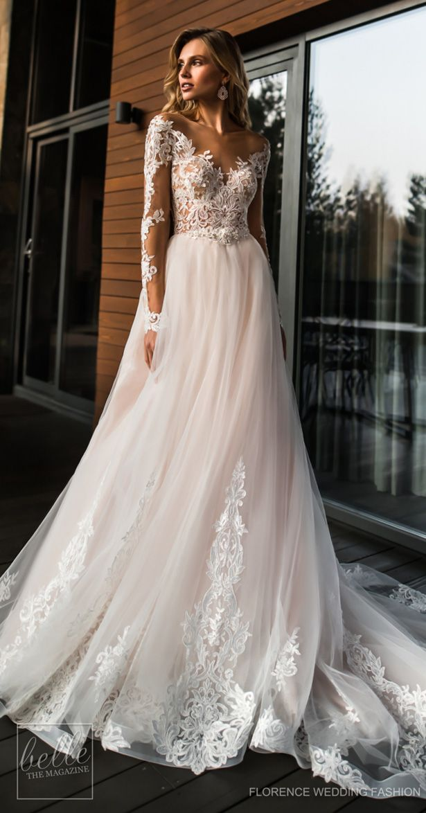 748980936565 Ball gown Wedding Dress by Florence Wedding Fashion 2019 Despacito Bridal  Collection | Blush princess bridal gown with ling sleeves | Lace and tulle  a-line ...