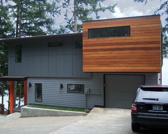 Modern house exterior with nature theme fascinating sher for Modern house grey