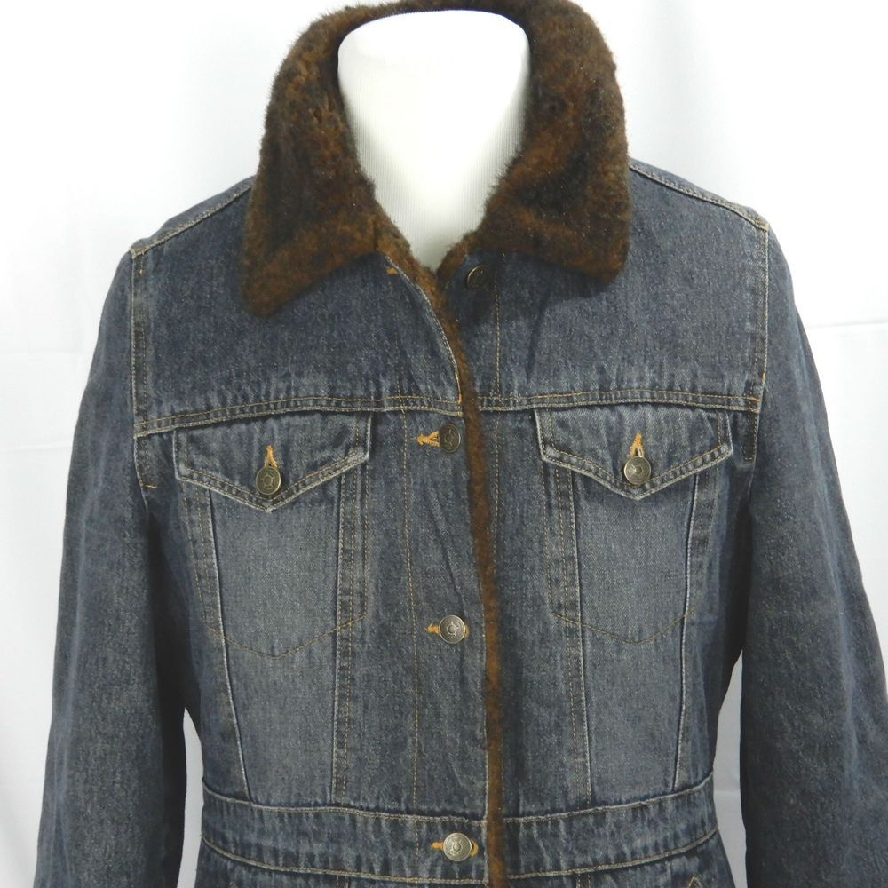 Marvin richards womens denim jean jacket l large lined faux mink fur