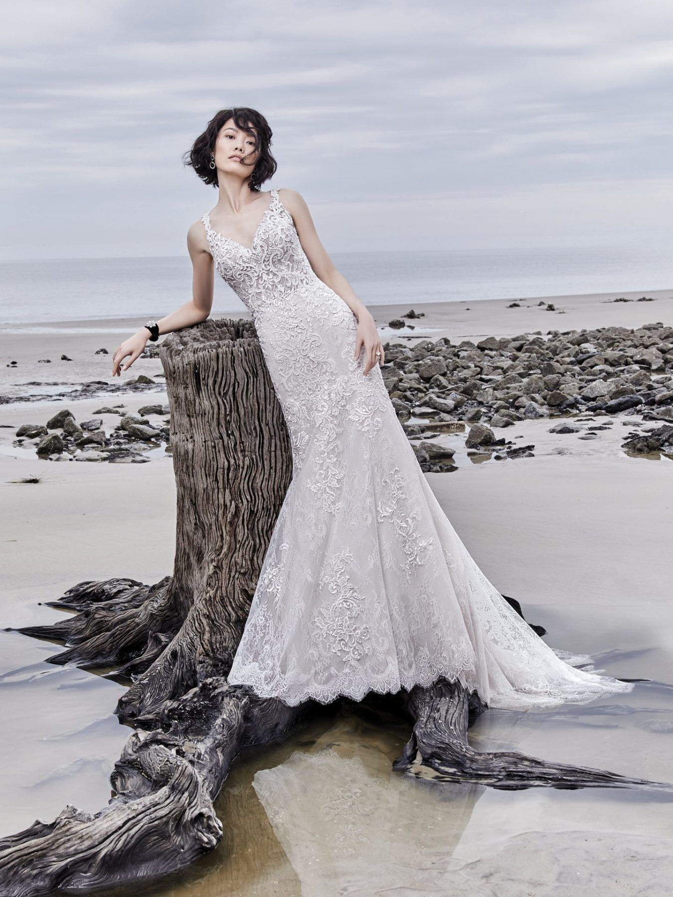 Sleeveless lace vneck fit and flare wedding dress maggie sottero