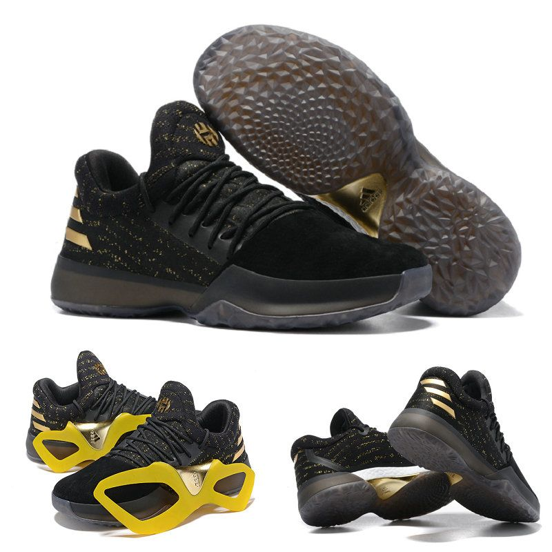 407d75fb0cfd3f Harden James Gold Adidas Harden Vol. 1 Black Gold Black Basketball Shoes
