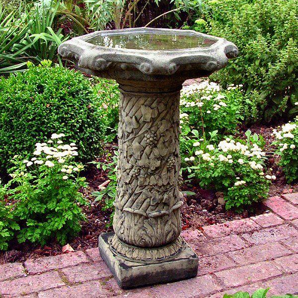 Superior Vine Stone Garden Bird Bath In Moss Finish.