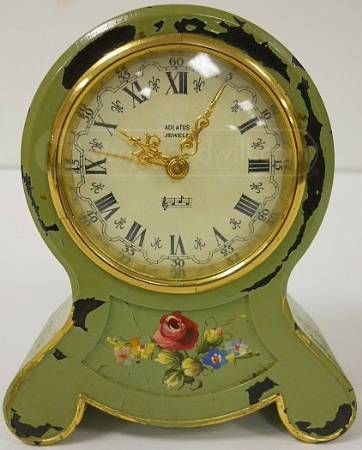 Antique Music Box Hand Painted German Alarm Clock We Use To Have