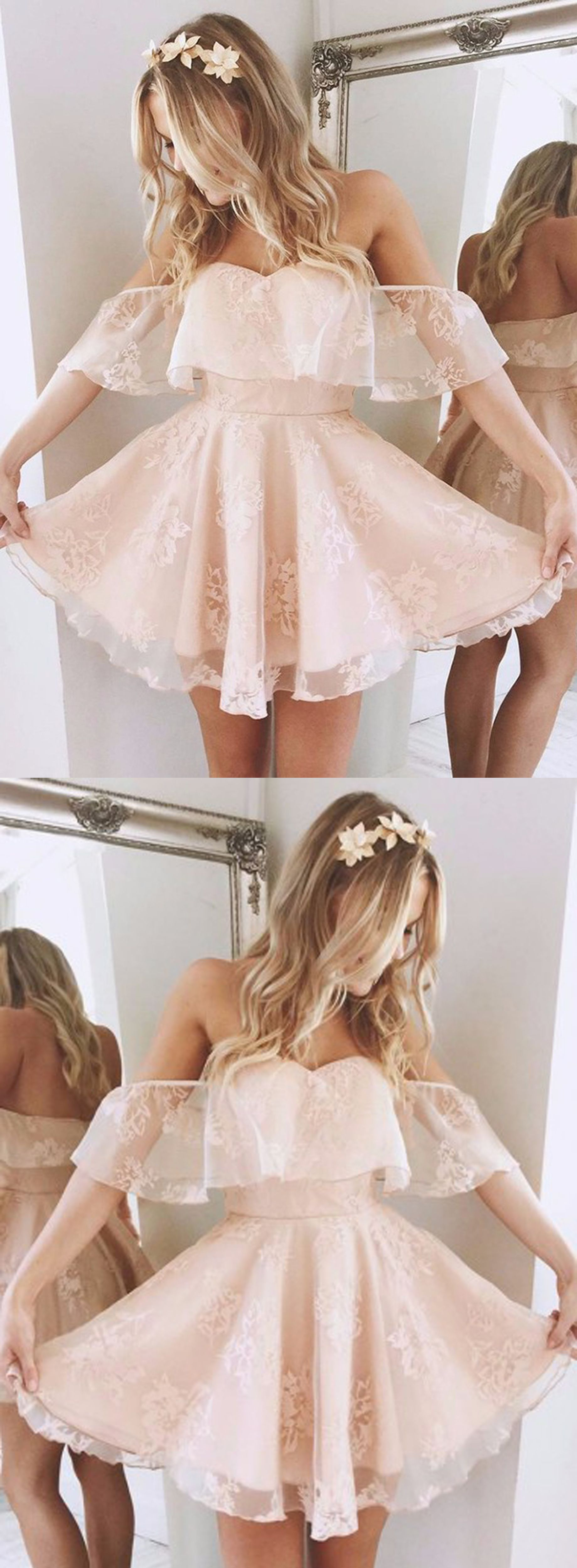 91256d0cff7 A-Line Off-the-Shoulder Short Pearl Pink Lace Homecoming Dress
