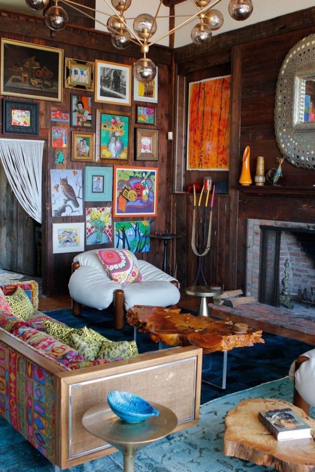 Rustic Eclectic Room So Colorful And Cute With Frame Painting For Decoration  Eclectic living room dcor