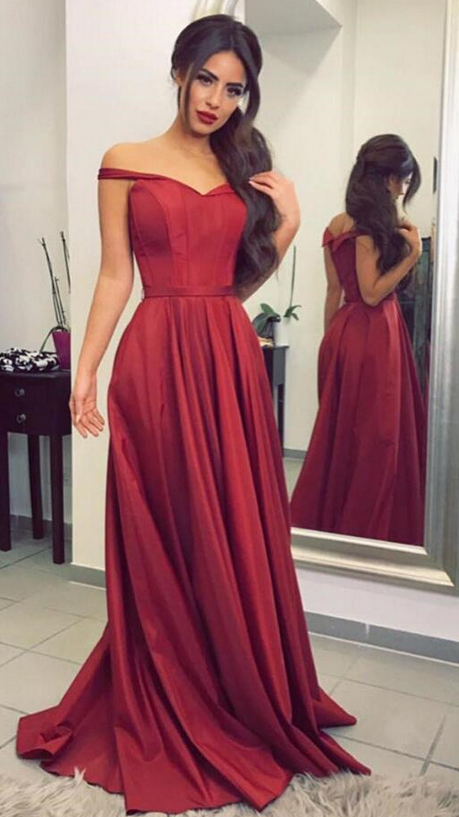 1a874e70c0 Red Off-The-Shoulder Floor Length A-Line Formal Dress