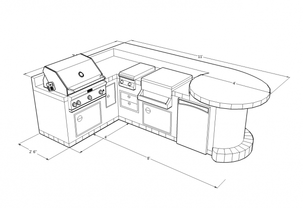 Matchless Outdoor Bbq Kitchens Islands Plans With L Shape Design For Kitchen  Island And Built In