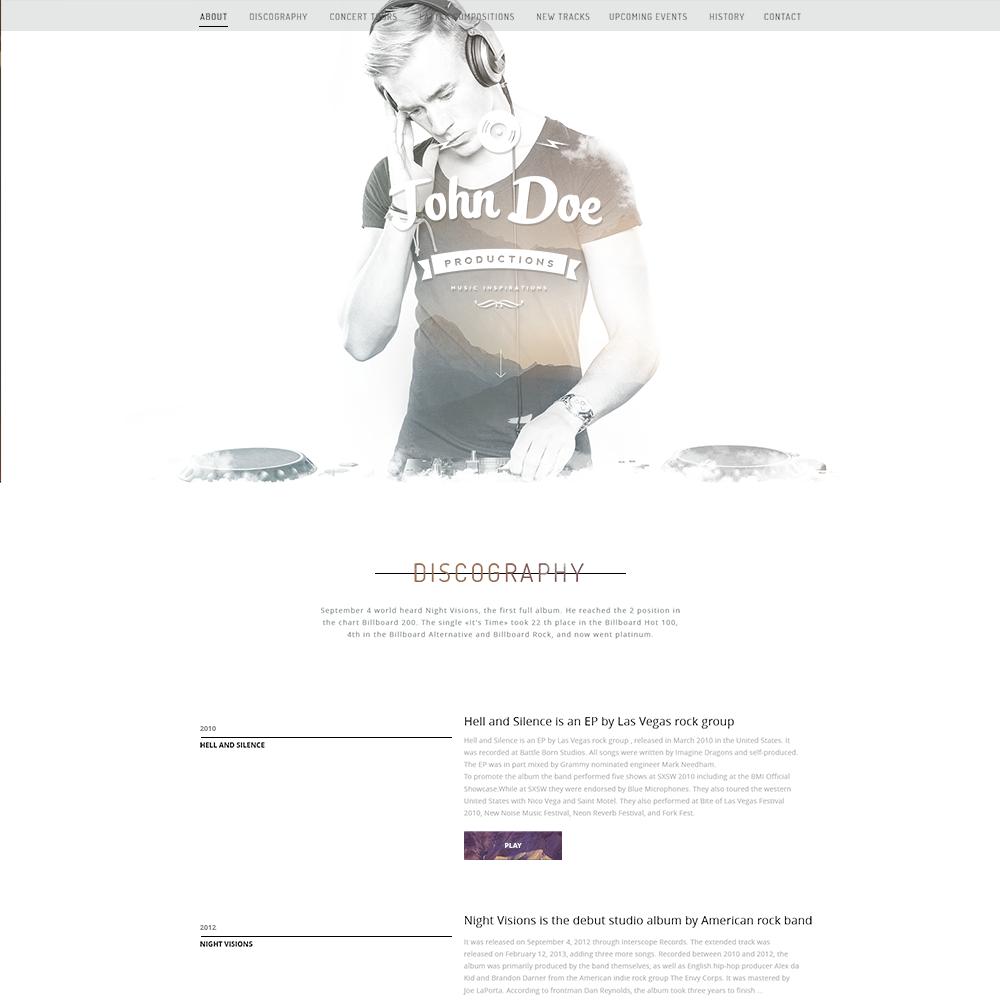 free musicians psd portfolio template - Musicians Resume Template