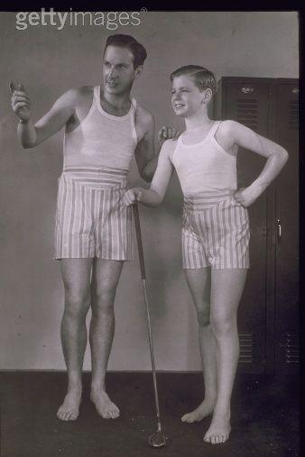 MAN AND BOY WEARING BOXER SHORTS, 1940 | Photo | Vintage underwear