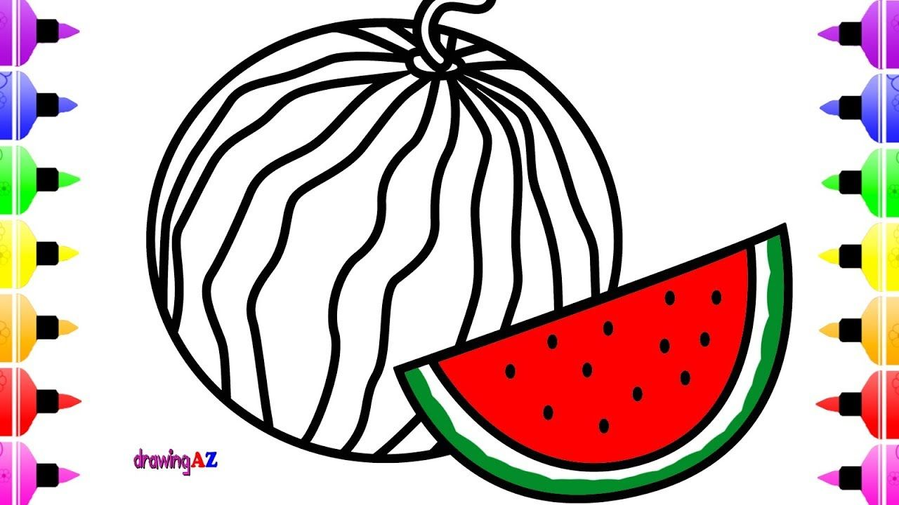 How to Draw Watermelon for Kids & Coloring Book with Marker ...