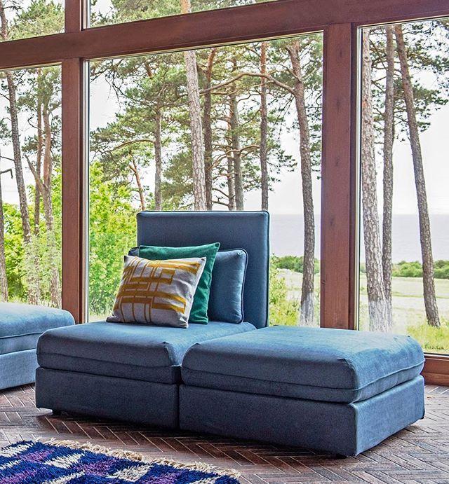 ikea vallentuna sofa with a steel blue chenille cover bemzdesign
