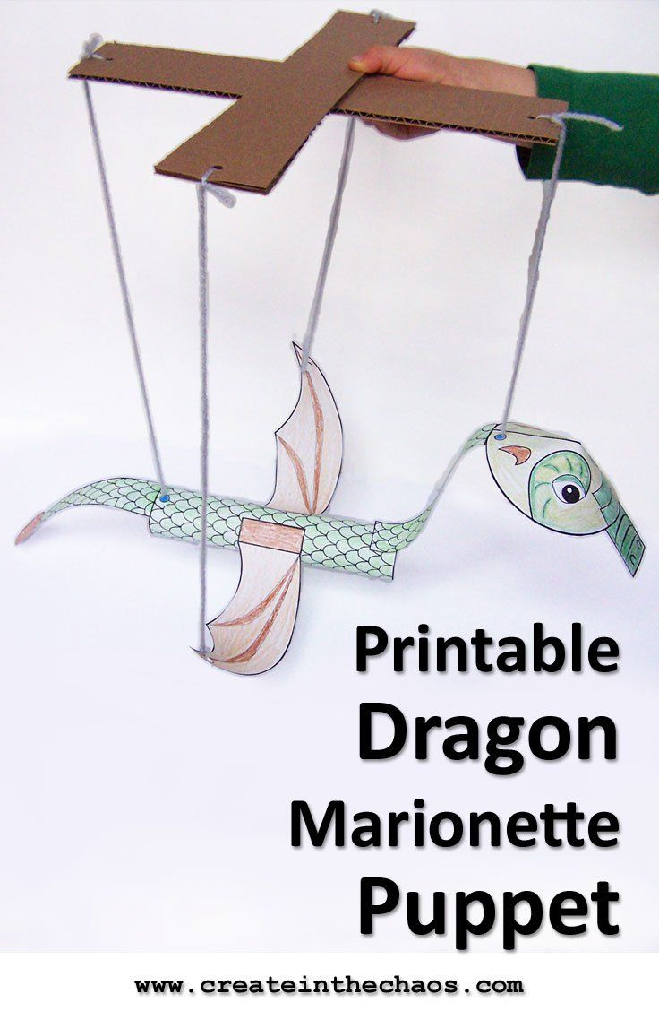 Such a fun craft! Printable dragon marionette for kids www.createinthechaos.com