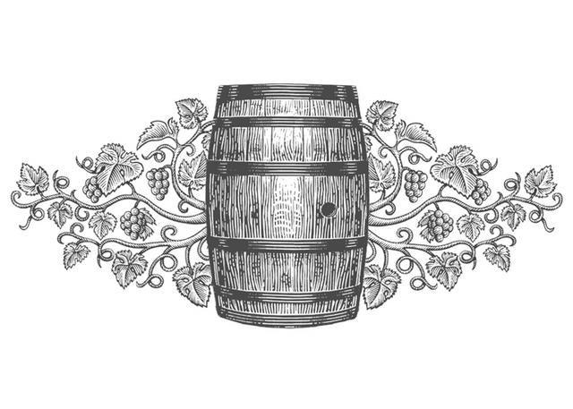 Wine Barrel Illustration Ii Design Scratchboard Style Line Art Wine Label Art Wine Barrel Barrel