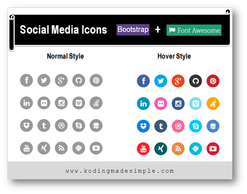 Create Stylish Bootstrap 3 Social Media Icons How To Guide Social Media Icons Social Media Icon