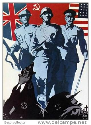 Allies Propaganda poster for WW2 depicting the three main allied ...