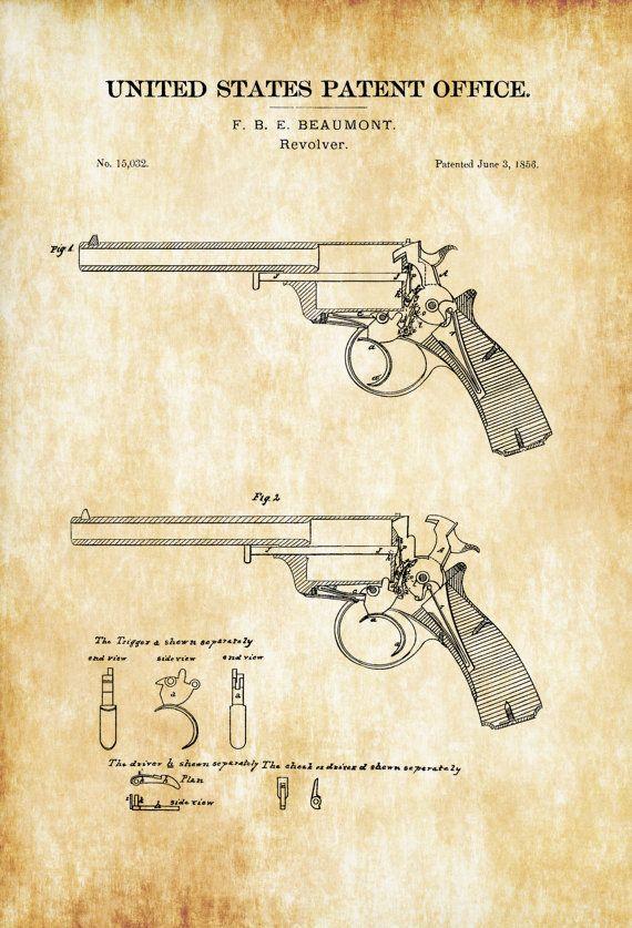 1856 Revolver Patent - Patent Print, Wall Decor, Gun Art, Firearm - new blueprint gun art