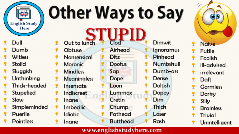 Other Ways To Say Stupid Other Ways To Say English Study Words For Stupid
