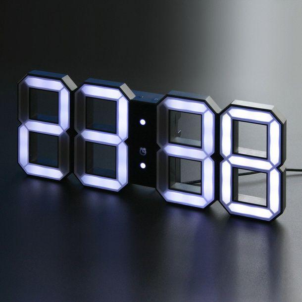 Digital Led Clock Black With Images Led Clock Clock Design White Clocks