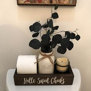 Hello Sweet Cheeks, Wood Toilet Box, Toilet Tray, Bathroom Toilet Tray, Bathroom Decor, Bathroom Humor, Nice Butt Tray, Sign, Toilet Tank