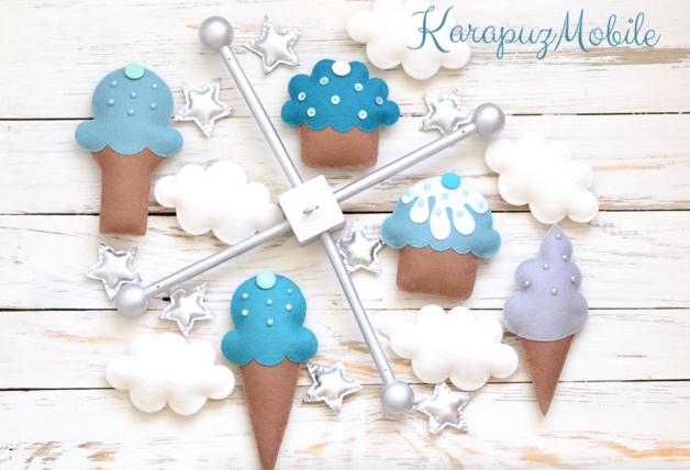 Mobile - Baby mobile, nursery mobile, ice cream mobile - ein Designerstück von KarapuzBoutique bei DaWanda
