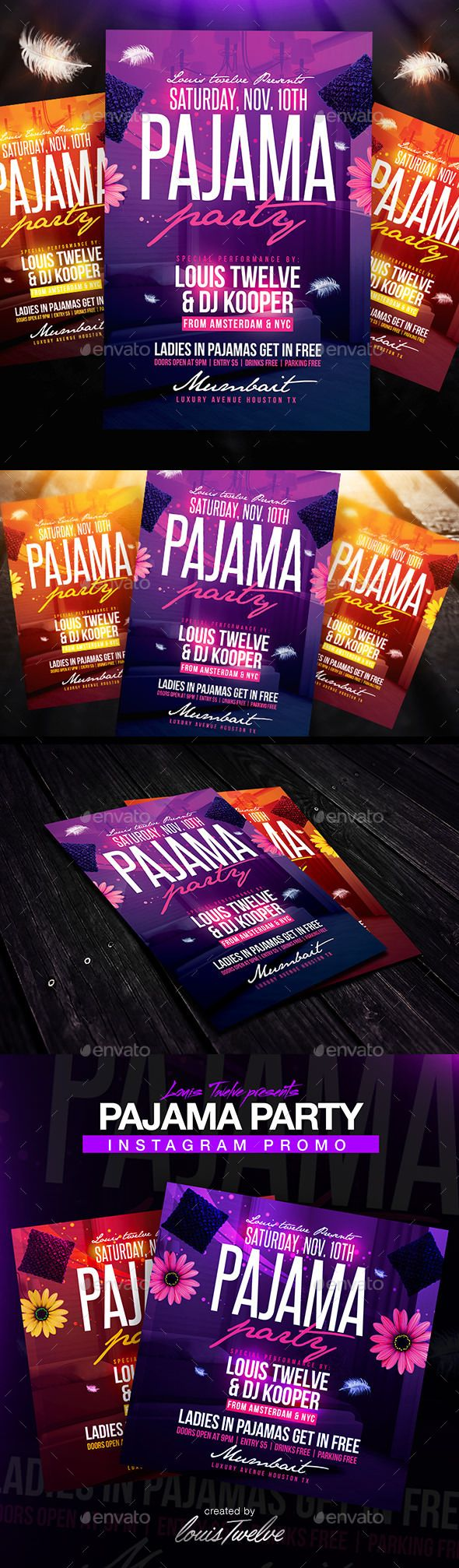 Sexy pajama party flyers