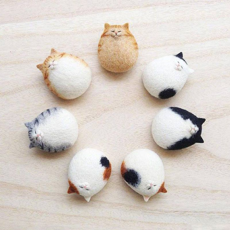 Cat Kitten Wool Felt Craft DIY Non Finished Poked Set Handcraft Kit 1 Set