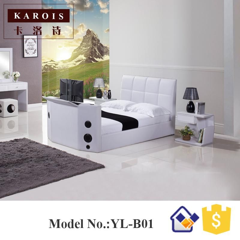 2017 Special Design Leather Double Cot Bed Models Functional Hifi
