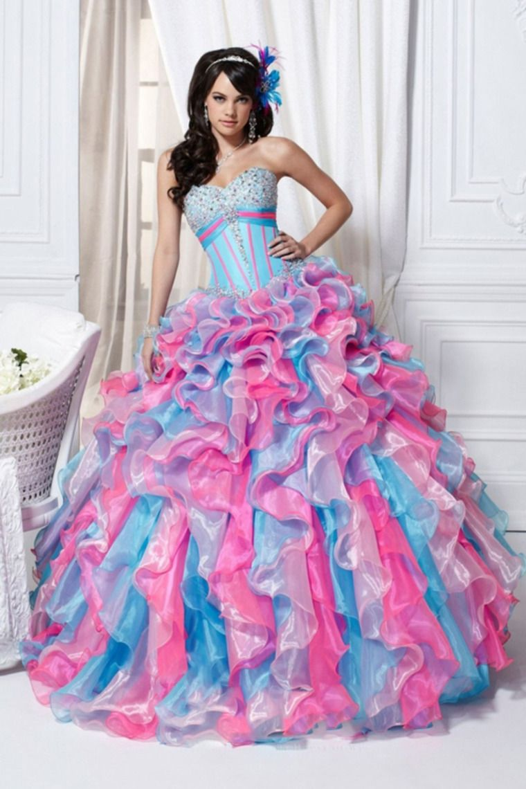 Bright Multi Color Sweetheart Quinceanera Dresses Ball Gown Pick Up ...
