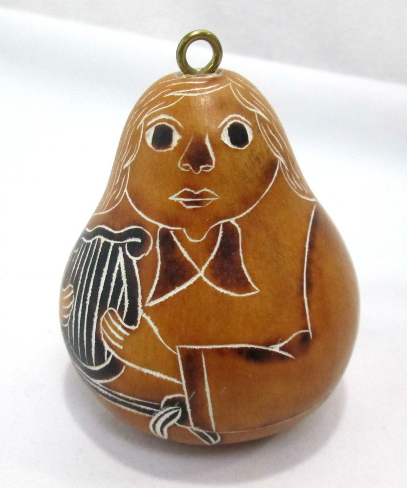 """Peruvian Carved Hand Painted Gourd Christmas Ornament Angel Harp 3"""" Tall 2.5""""dia #HAndMade"""