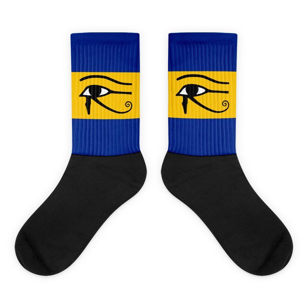 Blue/Yellow Eye of Horus Black foot socks