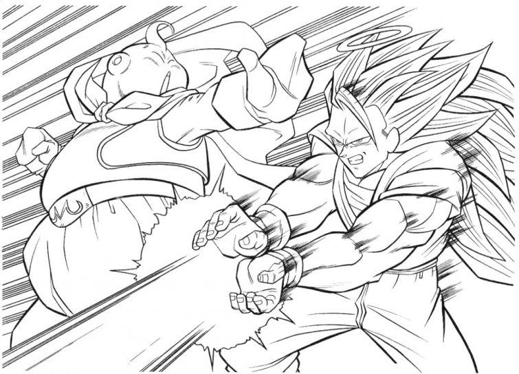 dragon ball z coloring page goku kamehameha majin buu - Coloring Pages Dragon Ball Goku