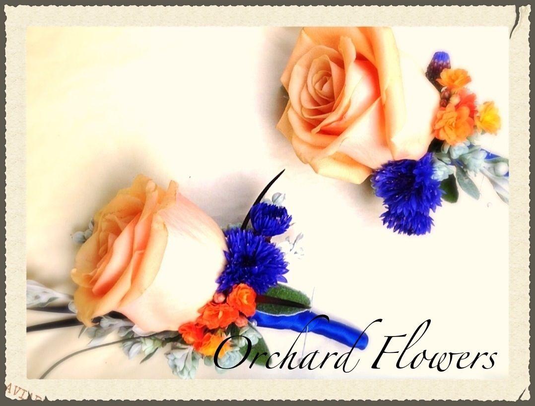 Peach rose buttonholes