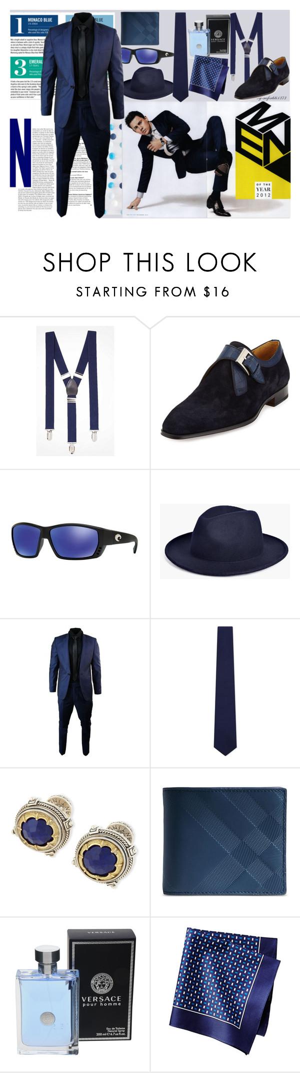 """The Night Sky Impressionist Blue!"" by nefertiti1373 on Polyvore featuring Express, Garance Doré, Magnanni, Costa, BoohooMAN, ETON, Konstantino, Burberry, Versace and men's fashion"