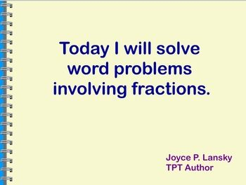 Fraction Word Problems Power Point | TpT Math Lessons | Fraction