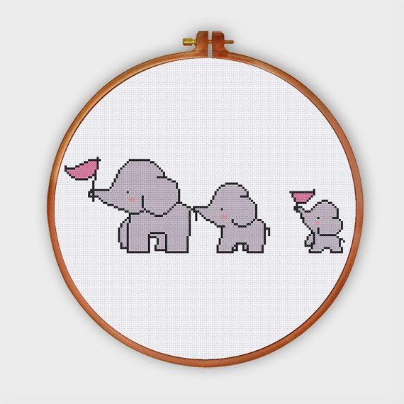 3 elefantes cruz puntada patrón patrón de punto de por ThuHaDesign ...