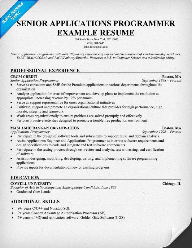 Senior Applications #Programmer Resume Example