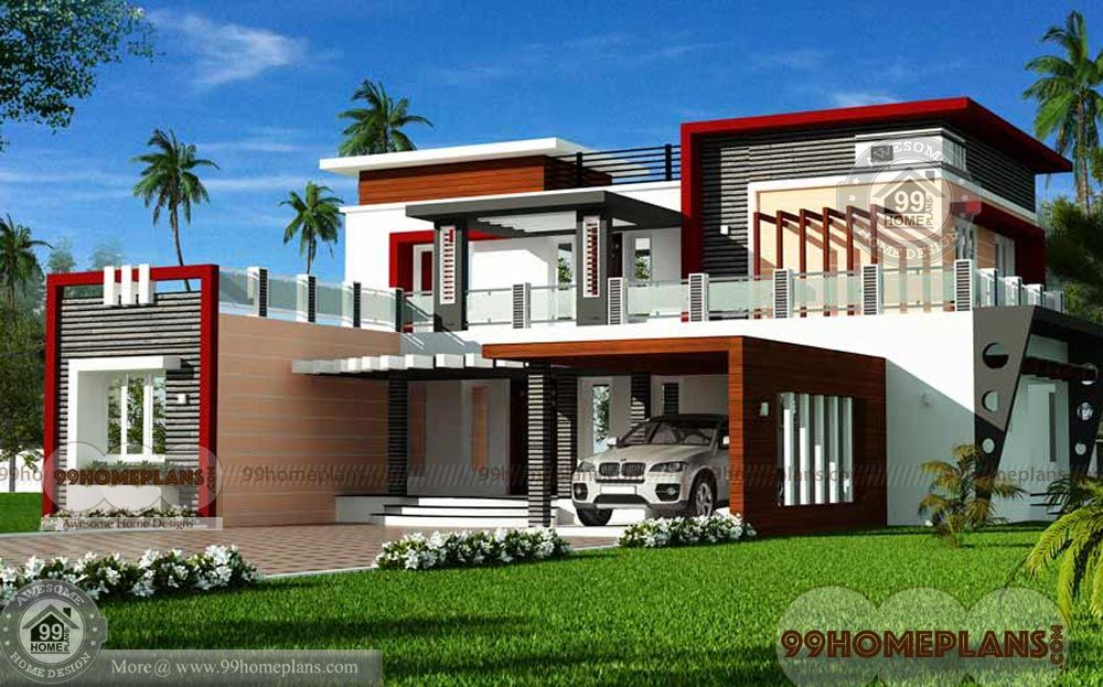 Indian House Design Front View With Double Story Cute Low Cost Homes In 2020 Modern House Floor Plans Beautiful House Plans House Roof