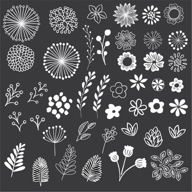 Chalkboard Floral Clipart – Clip Art – Floral Clipart – Chalk Clipart – Rustic Clipart – Boho Clipart – Vector AI y PNG – Descarga instantánea