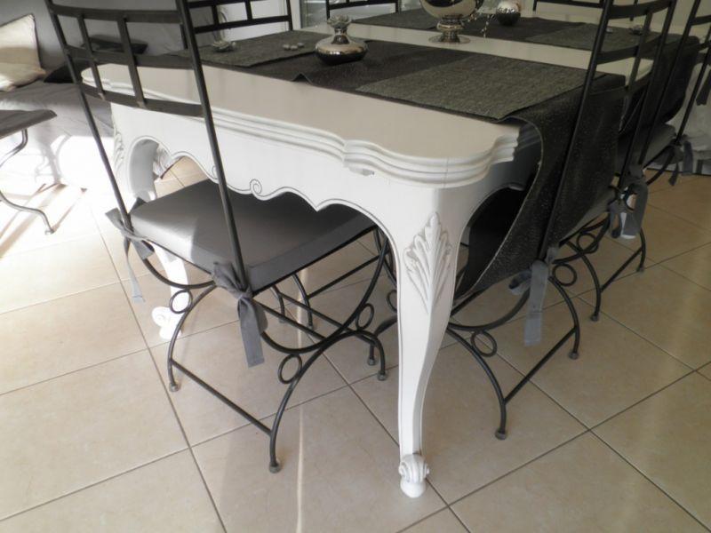 table style proven231al en noyer relook233e blanc patin233 gris