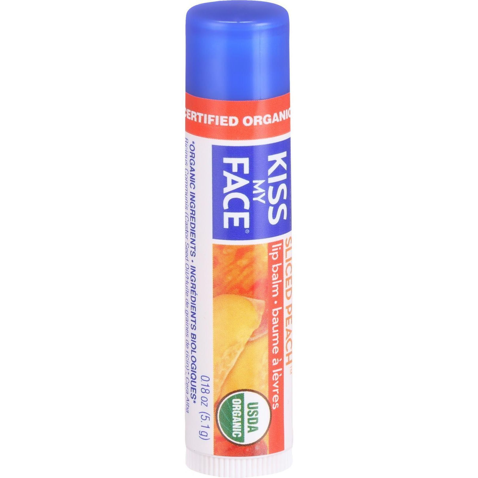 Kiss My Face Organic Lip Balm - Sliced Peach - .18 oz - Case of 24