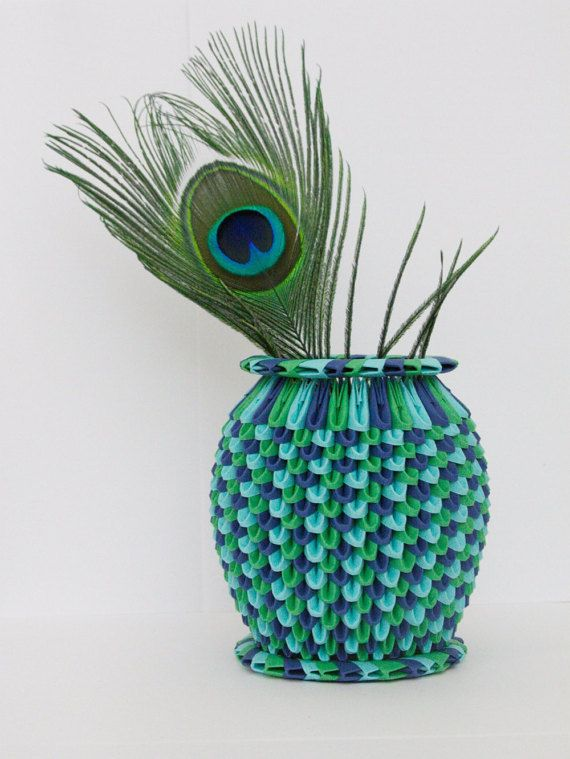 Peacock 3d Origami Vase Home Accents Workplace Accessories