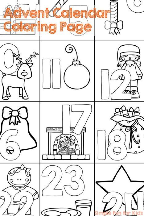 Christmas Countdown Day 1 Advent Calendar Coloring Page Advent